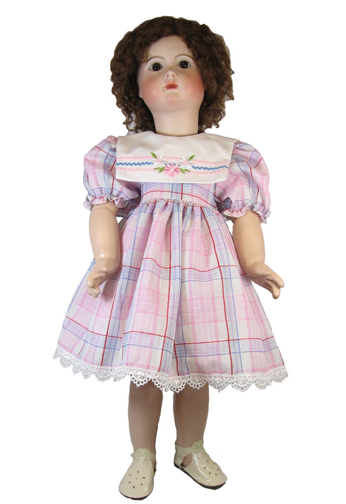 "Pink Plaid Dress for 24"" Dolls"