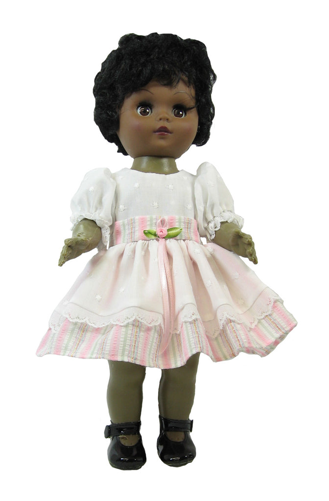 "Eyelet and Pink Stripes Dress for 11"" Goodfellow Dolls"