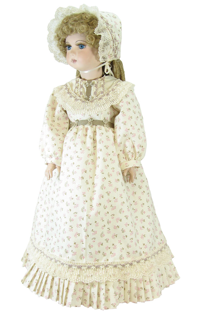 "Cream Victorian Calico Fashion Dress for 18"" Dolls"