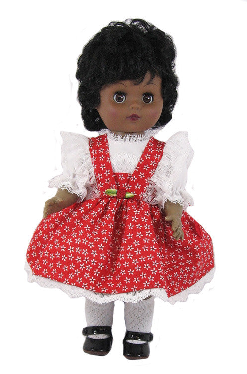 "12"" Red Floral Doll Dress"