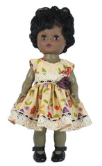 "12"" Puple Posies Doll Dress"