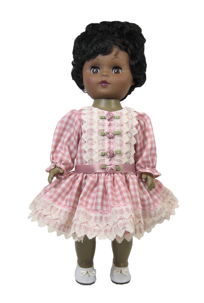 Rose Gingham Dropped Waist Dress for Goodfellow Dolls