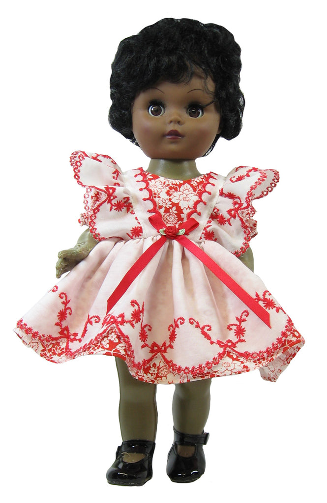 "Red Eyelet Pinafore Dress for 12"" Goodfellow Dolls"