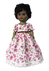 "12"" Hearts and Roses Doll Dress"