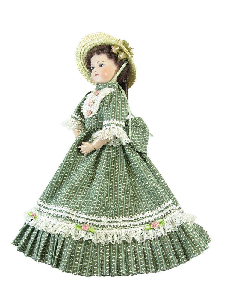 "Sage Walking Dress for 12"" Fashion and China Head Dolls"