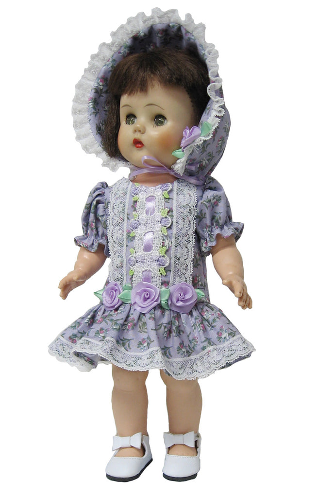 "Lavender Dropped Waist Dress for 12"" Goodfellow Dolls"