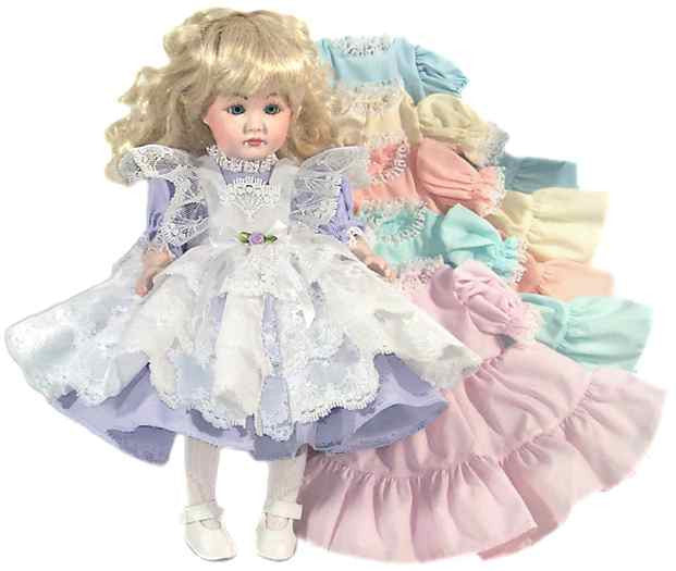 "12"" Lacy Pinafore Doll Dress"