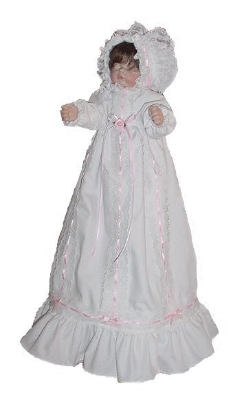 "12"" Christening Doll Dress"