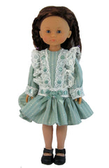 "13"" Fancy Dropped Waist Doll Dress"
