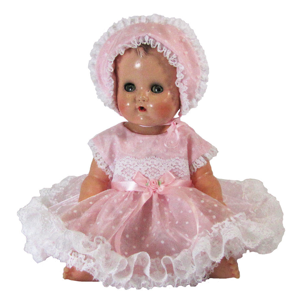 "Pink Organdy Dot Dress for 13"" Tiny Tears"