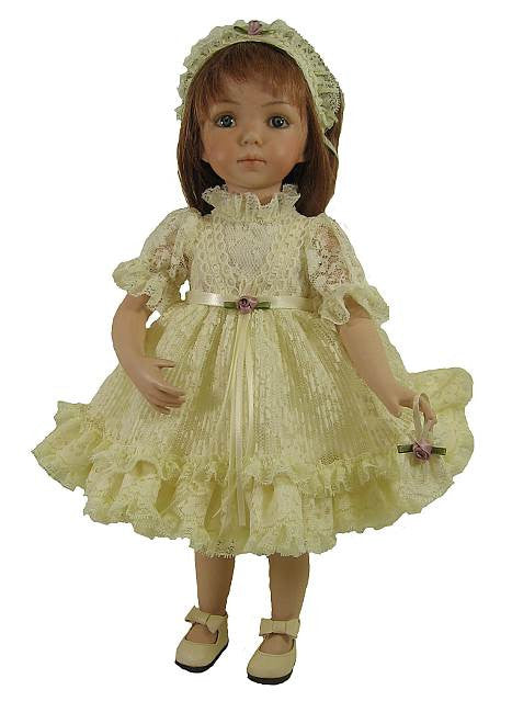 "14"" Crystal Pleated Lace Doll Dress"