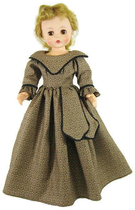 "Brown Vintage Long Dress for 15"" Dolls"