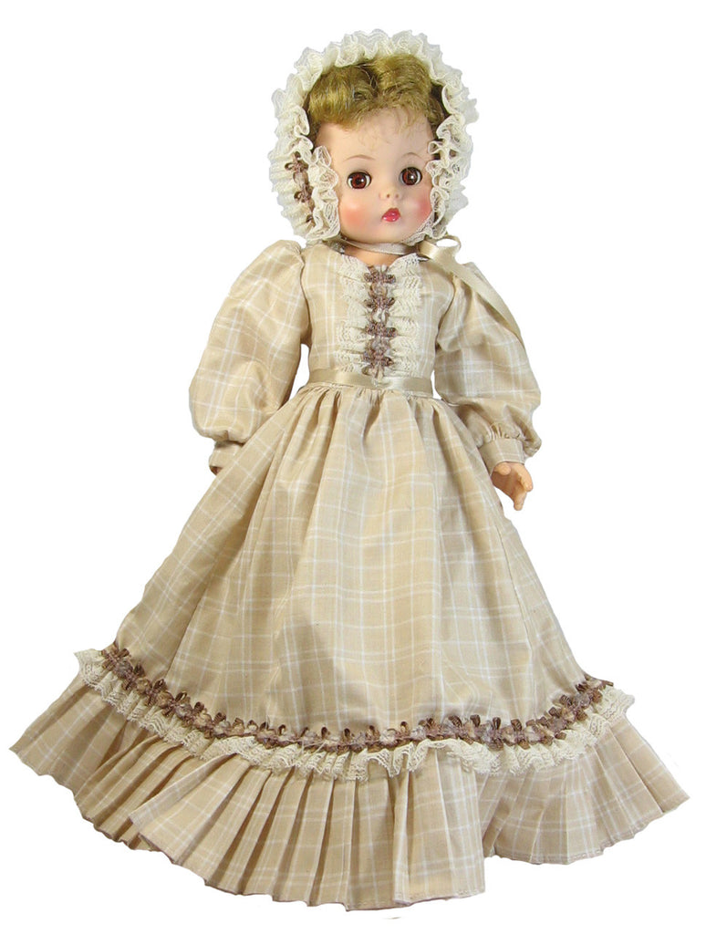 "Tan Plaid Fashion Dress for 16"" Dolls"