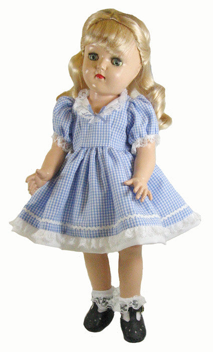 "16"" Vintage Check Doll Dress"