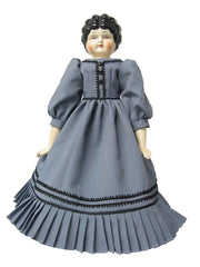 "16"" Navy China Head Doll Dress"