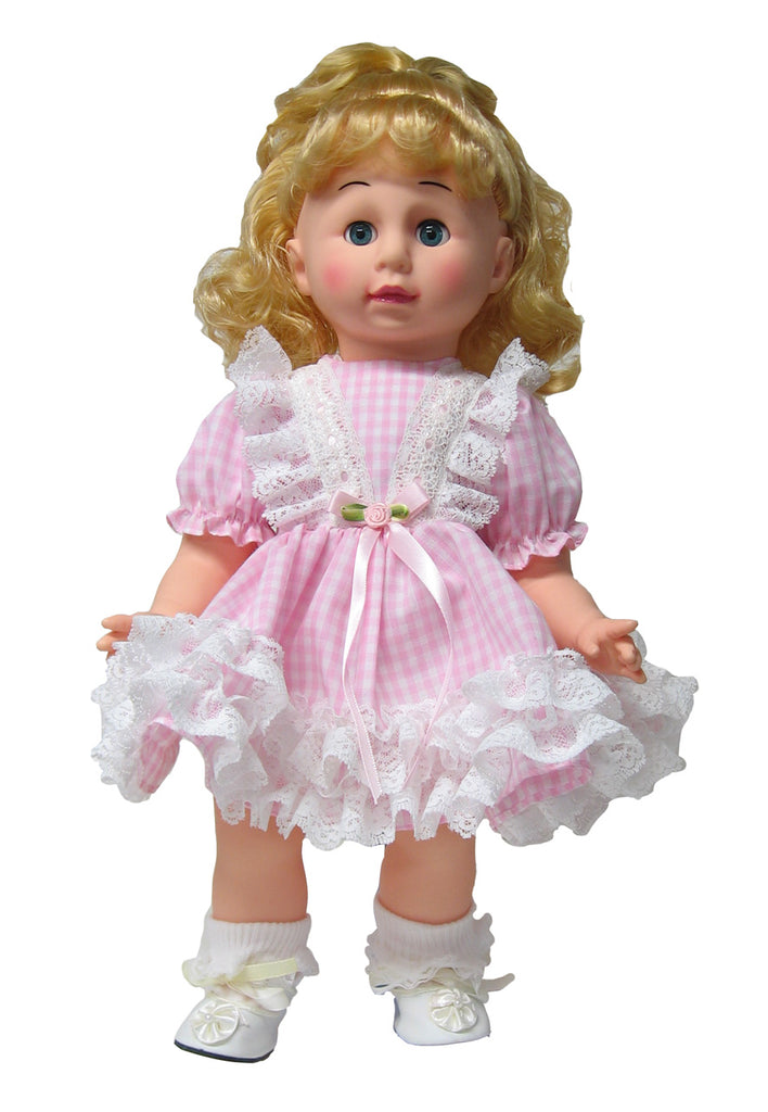 "12"" Gingham and Lace Doll Dress"