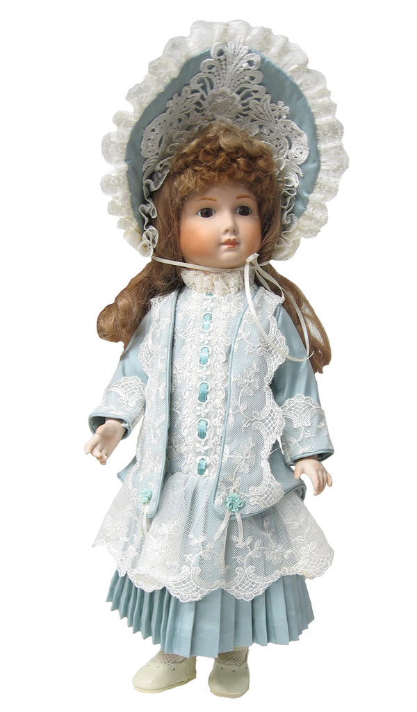 "Blue Victorian Silk Jacket Dress for 17"" Dolls"