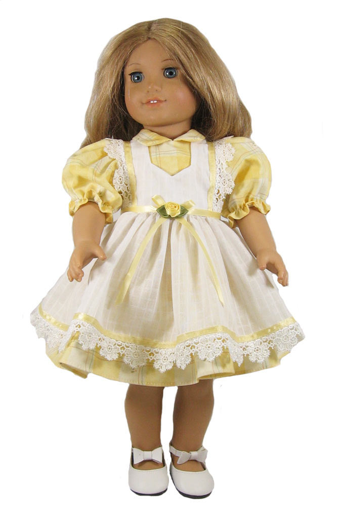 "French Country Pinafore Doll Dress for 18"" Dolls"