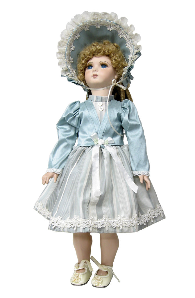 "Blue Victorian Silk Jacket Dress for 18"" Dolls"
