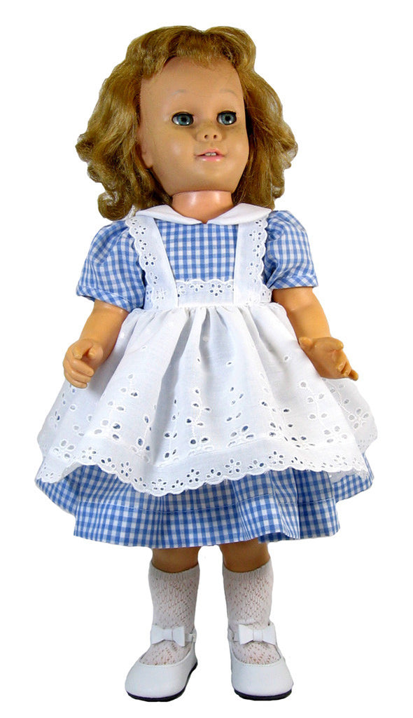 Blue Gingham with Eyelet Pinafore Dress for Chatty Cathie