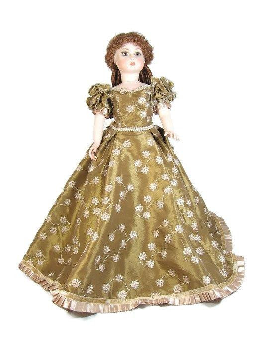 "Gold Embroidered Fashion Dress for 20"" Slim Dolls"
