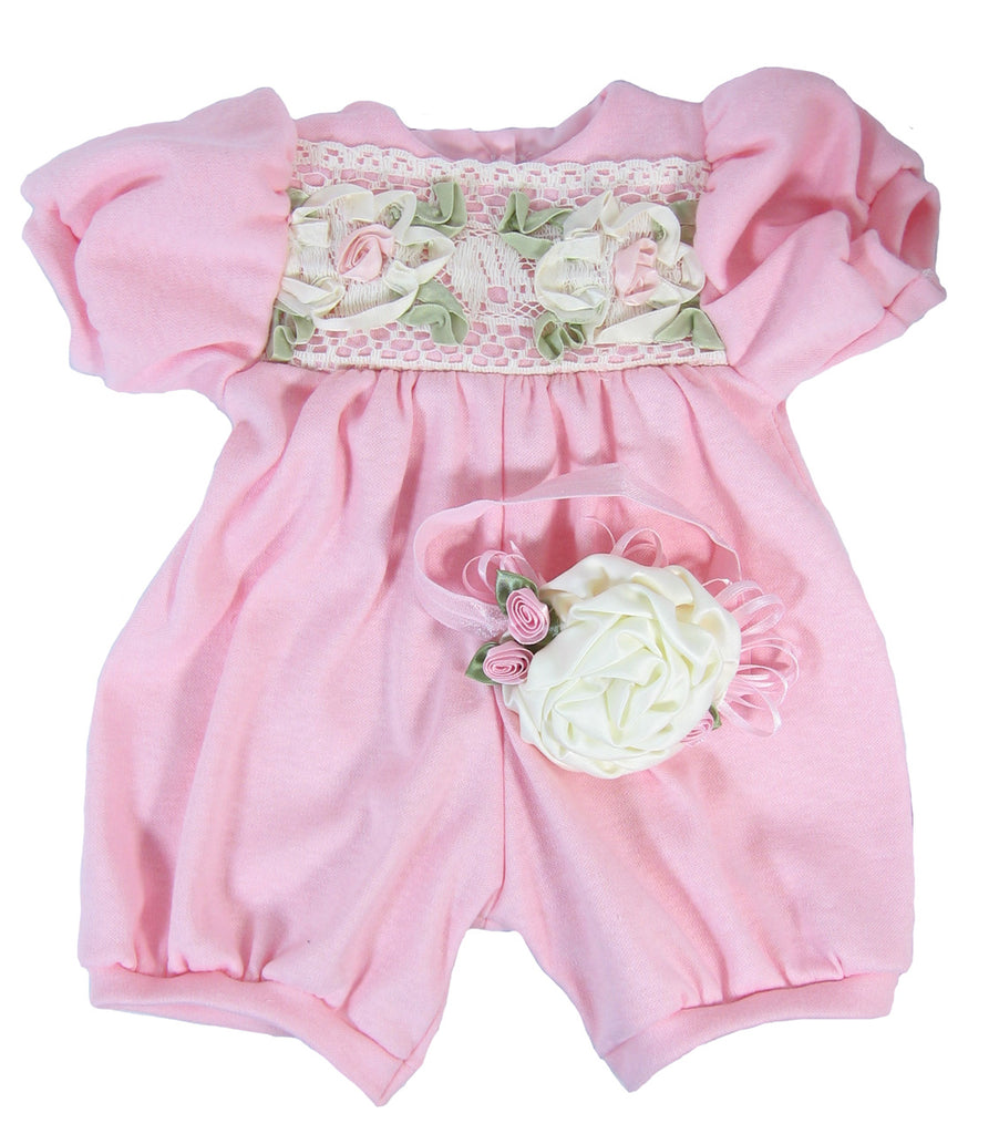 28ebac25595 Victorian Rose Doll Head Band. Pink Knit Romper for 20