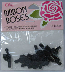 Black Offray Ribbon Rose-3/8""