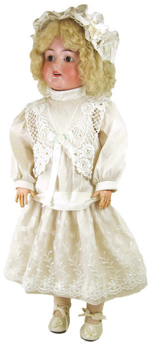 "Silk Dropped Waist Antique Dress for 22"" Dolls"
