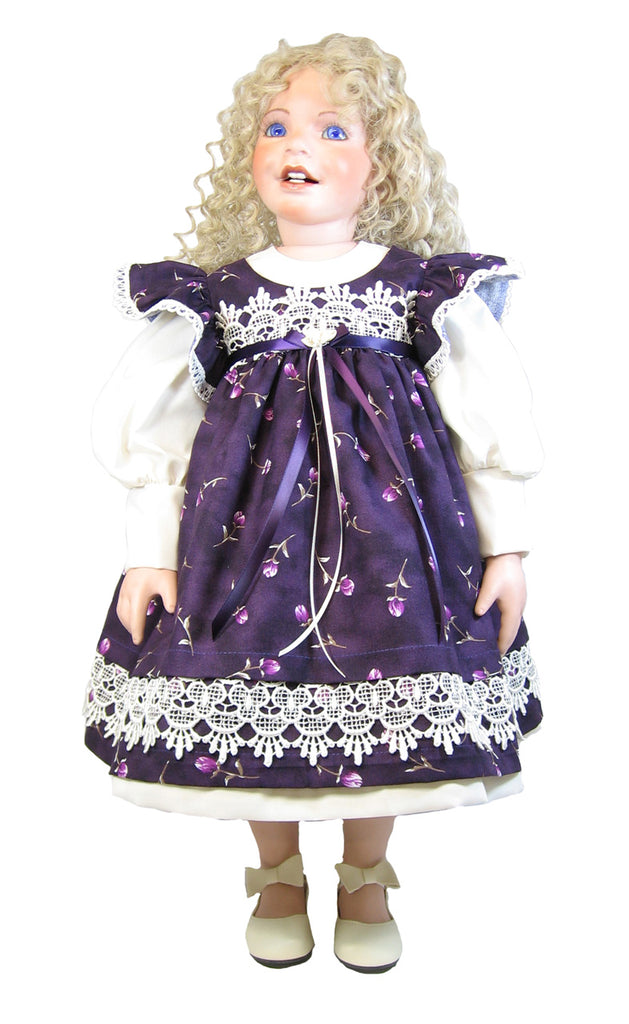 "Victorian Rose Pinafore Dress for 26"" Dolls"