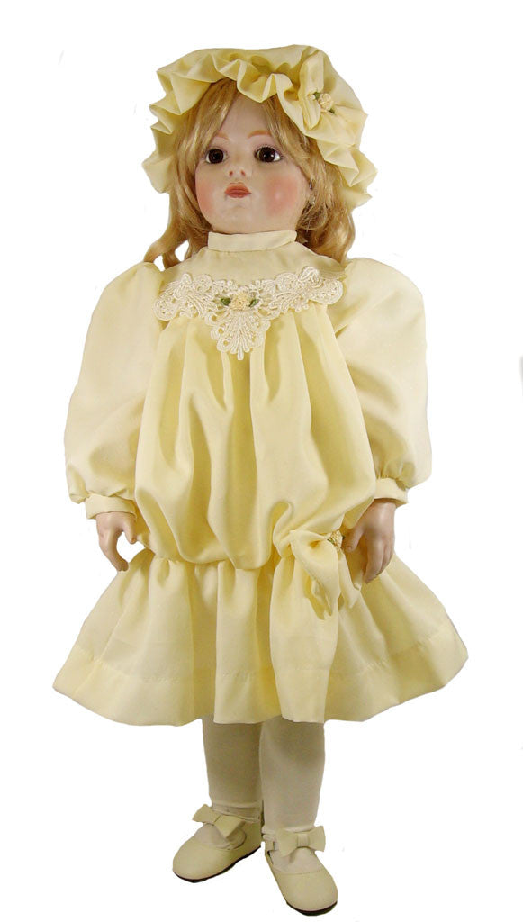 "Cream Dropped Waist Dress for 28"" Victorian Dolls"