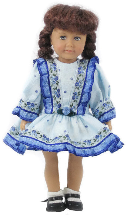 "Blue Dropped Waist Dress for 6"" American Girl Doll"