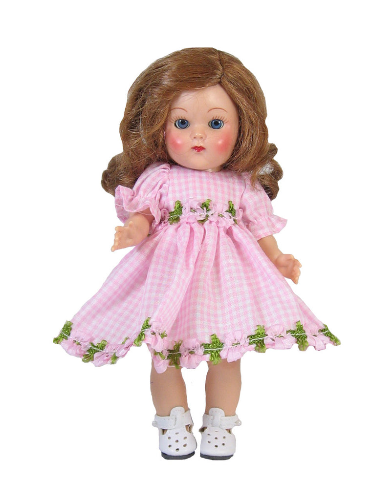 "Pink Gingham Dress for 7"" Ginny Dolls"