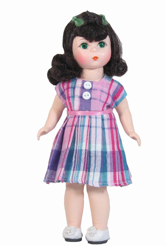 Pink Plaid Dress for Small Dolls