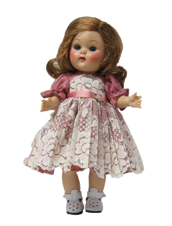 "7"" Roses and Pleated Lace Doll Dress"