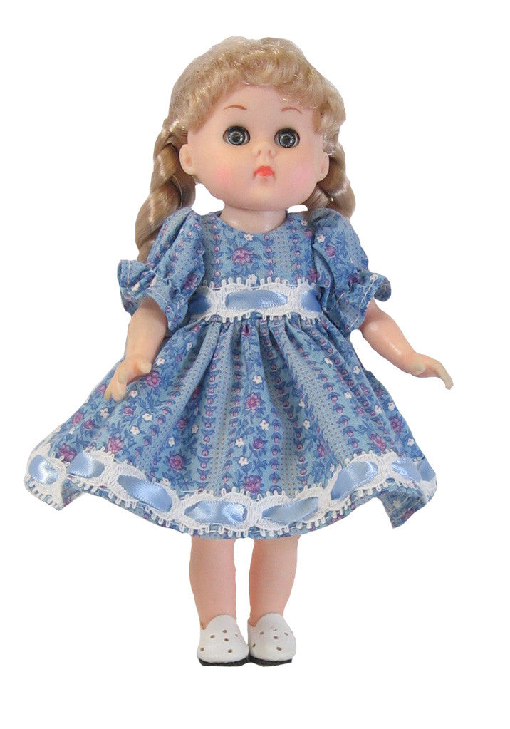 "Blue Beaded Dress for 7"" Dolls"