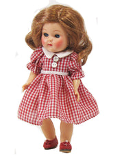 "7"" Vintage Gingham Check Doll Dress"