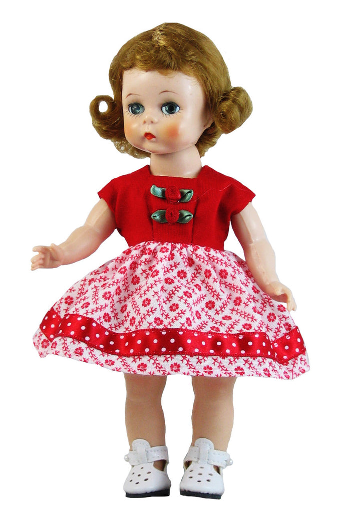 "Red Vintage Dress for 7"" Ginny Dolls"
