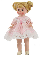 "7"" Pink dot and Eyelet Doll Dress"