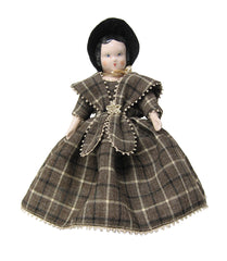 "7"" Brown Plaid Doll Dress"