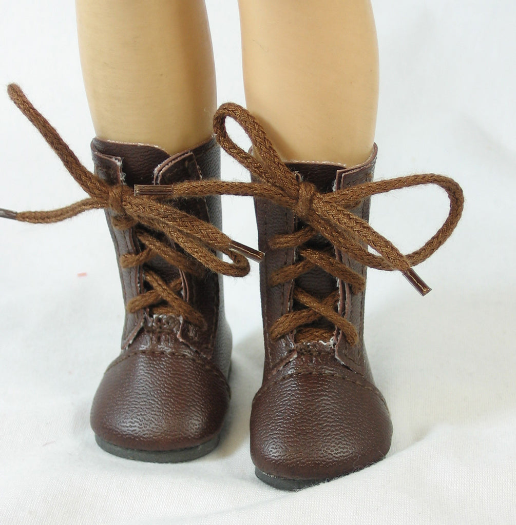 Brown Lace-up Doll Boots