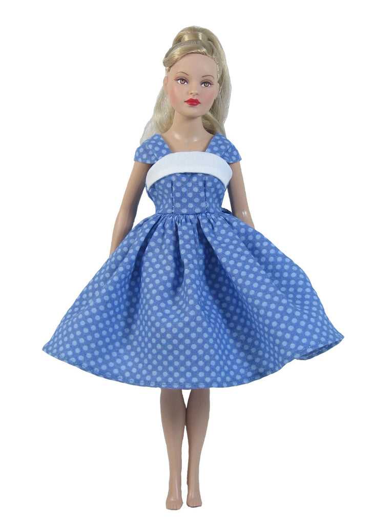 Blue Vintage Fashion Dress for Tiny Kitty Collier Dolls