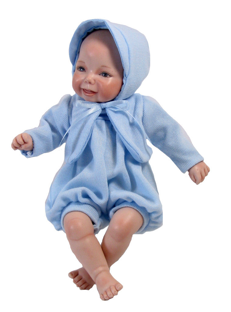 "Blue Baby Romper for 9"" Dolls"