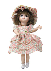 "9"" Delicate Roses Doll Dress"