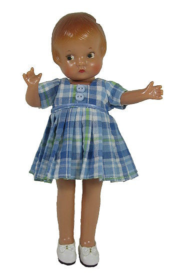 "9"" Vintage Plaid Doll Dress"