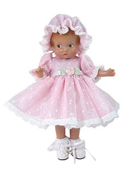"9"" Organdy Dot Doll Dress"