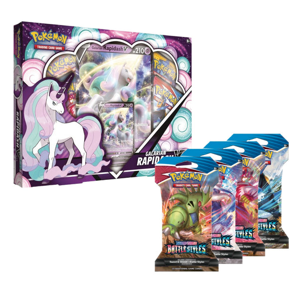 2 Galarian Rapidash V Boxes & 10 Battle Styles Sleeved Booster Packs