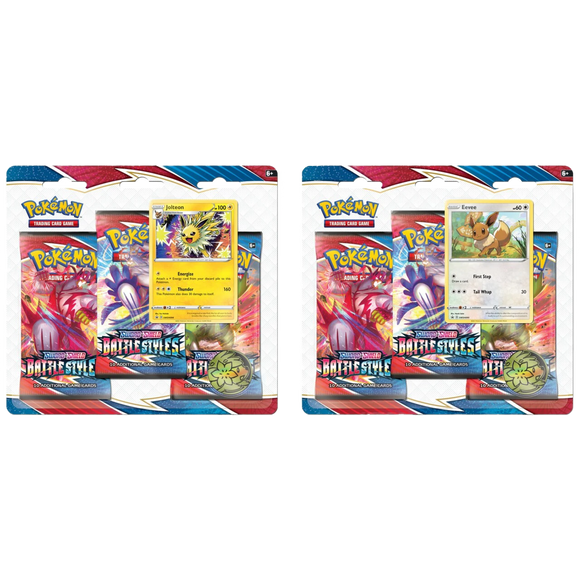 Pokemon Battle Styles 3 Pack Blisters with 1 Holo Promo Card - PokeCharles PokeStore