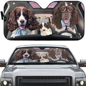 English Springer Spaniel Family - Animal Car Sun Shade