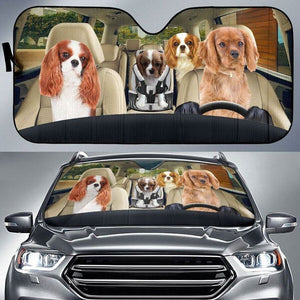 Cavalier King Charles Spaniel Family - Animal Car Sun Shade