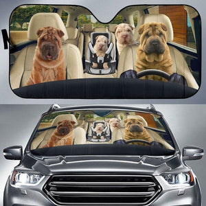 Sharpei Family - Animal Car Sun Shade